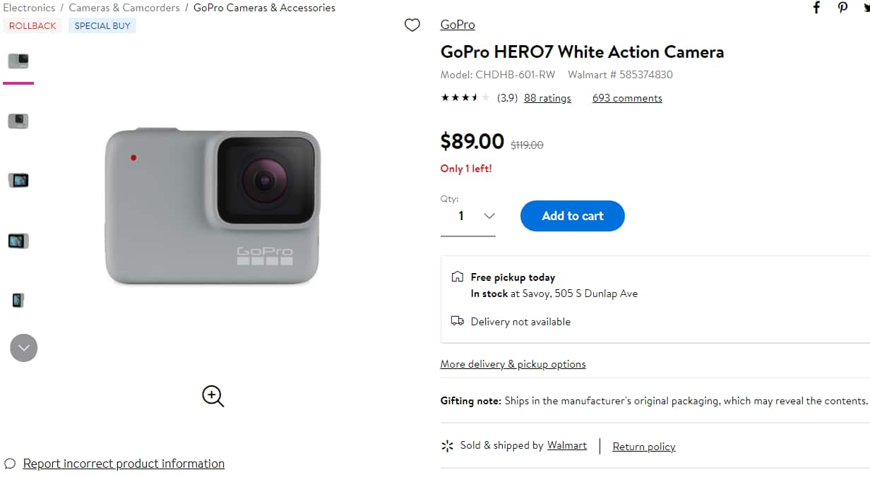 GoPro HERO7 White Action Camera $89.00 at Walmart YMMV pick-up only
