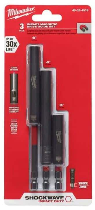 Milwaukee SHOCKWAVE Impact Duty Alloy Steel Magnetic Drive Guide Set (3-Piece)-48-32-4519 - $8.29 + Free Shipping