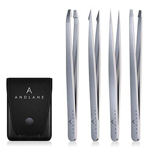 Tweezers - Professional Stainless Steel 4-Piece Precision Tweezer Set for Men & Women $8.95