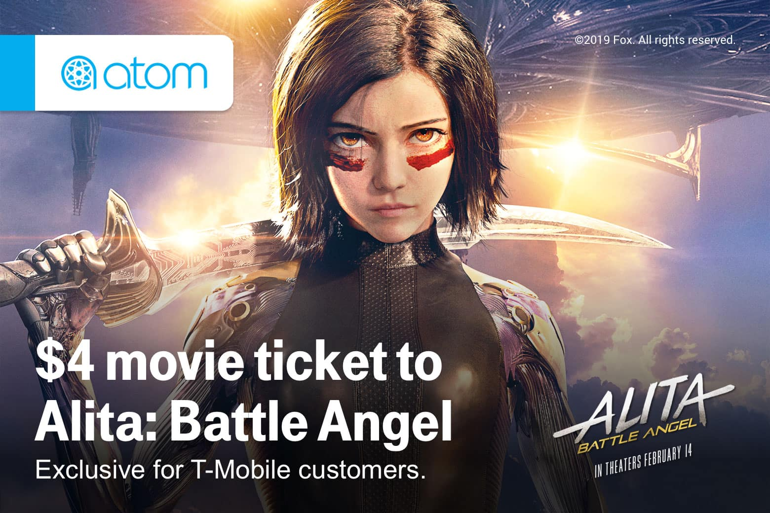 T-Mobile Customers (02/12): $4 Alita Battle Angel movie ticket, Shell 10cents off per gallon, Taco Bell Free Taco, Pizza Hut: $7.99 2 topping large + free cinnabon mini roll