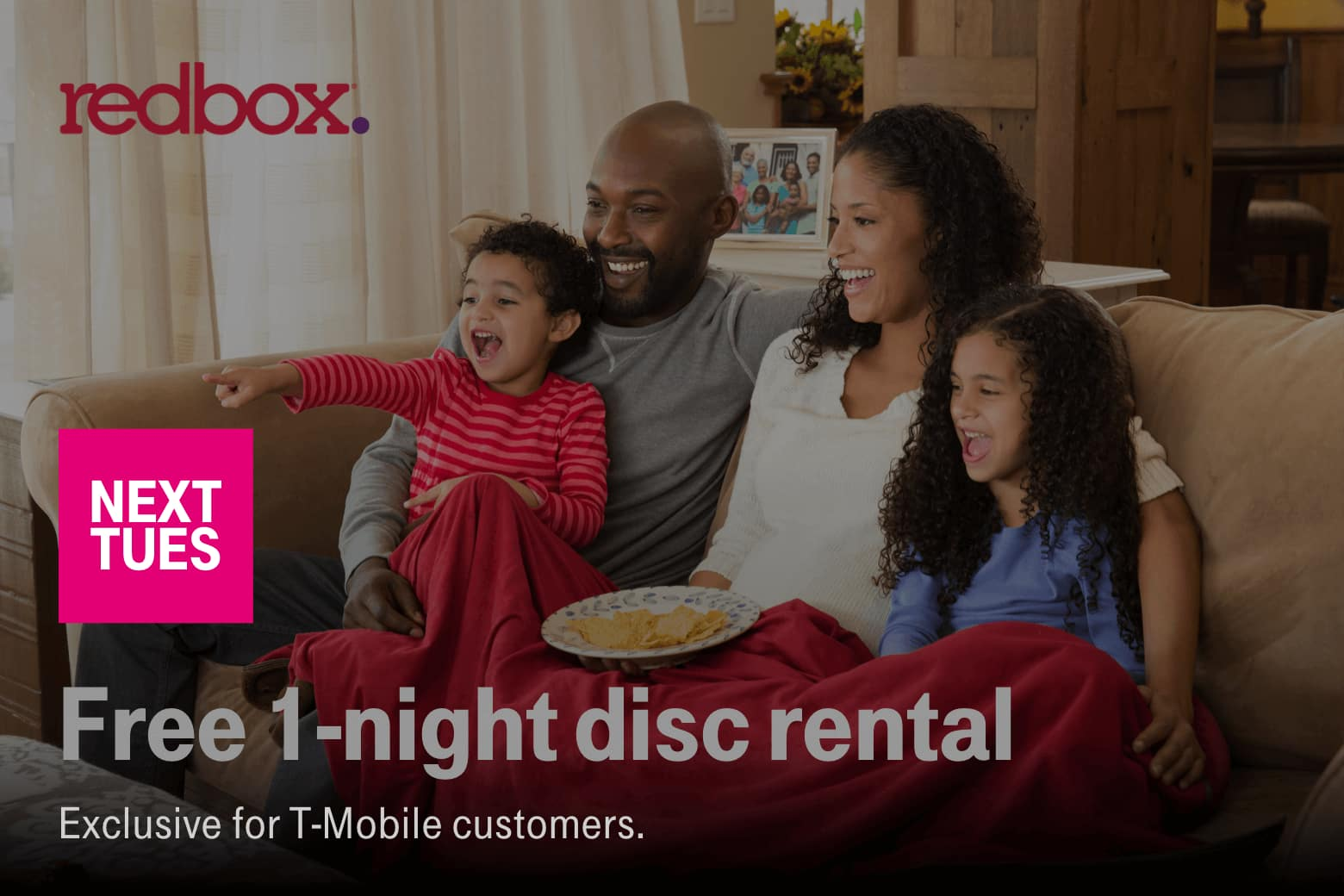 T-Mobile Customers 12/03: Free Redbox, Pizza Hut $7.99 Large 2 topping pizza +8 bone out wings, Feeding America: Give a Meal