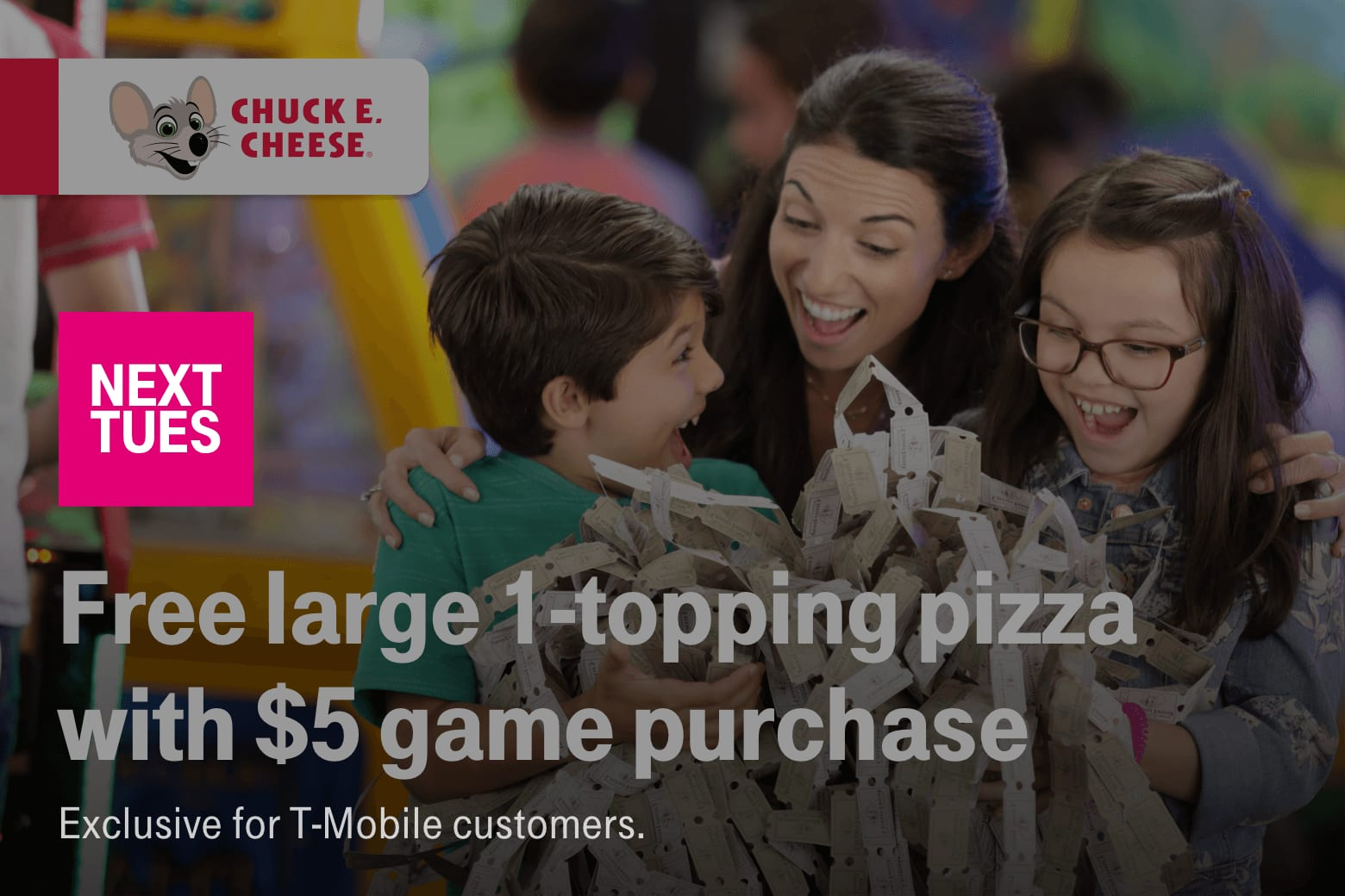 T-Mobile Customers 12/10: $5 off movie ticket, Free T-Mobile Touch Screen Gloves, Free Chuck e cheese large 1-topping pizza with $5 game purchase, $3 starbucks