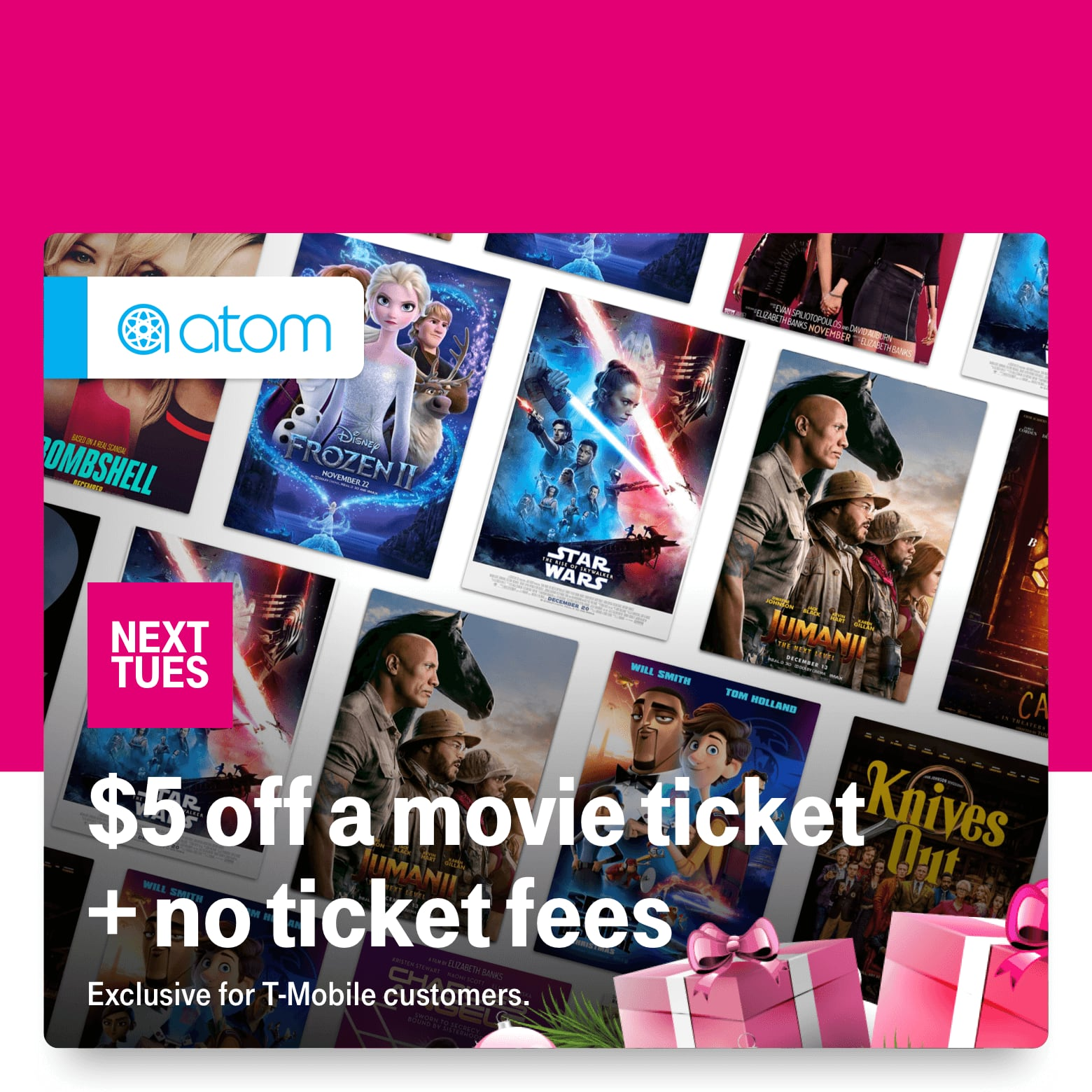 T-Mobile Customers 12/24: Atom $5 off movie tickets, Shutterfly $25 off, Tinggly $40 off gift box