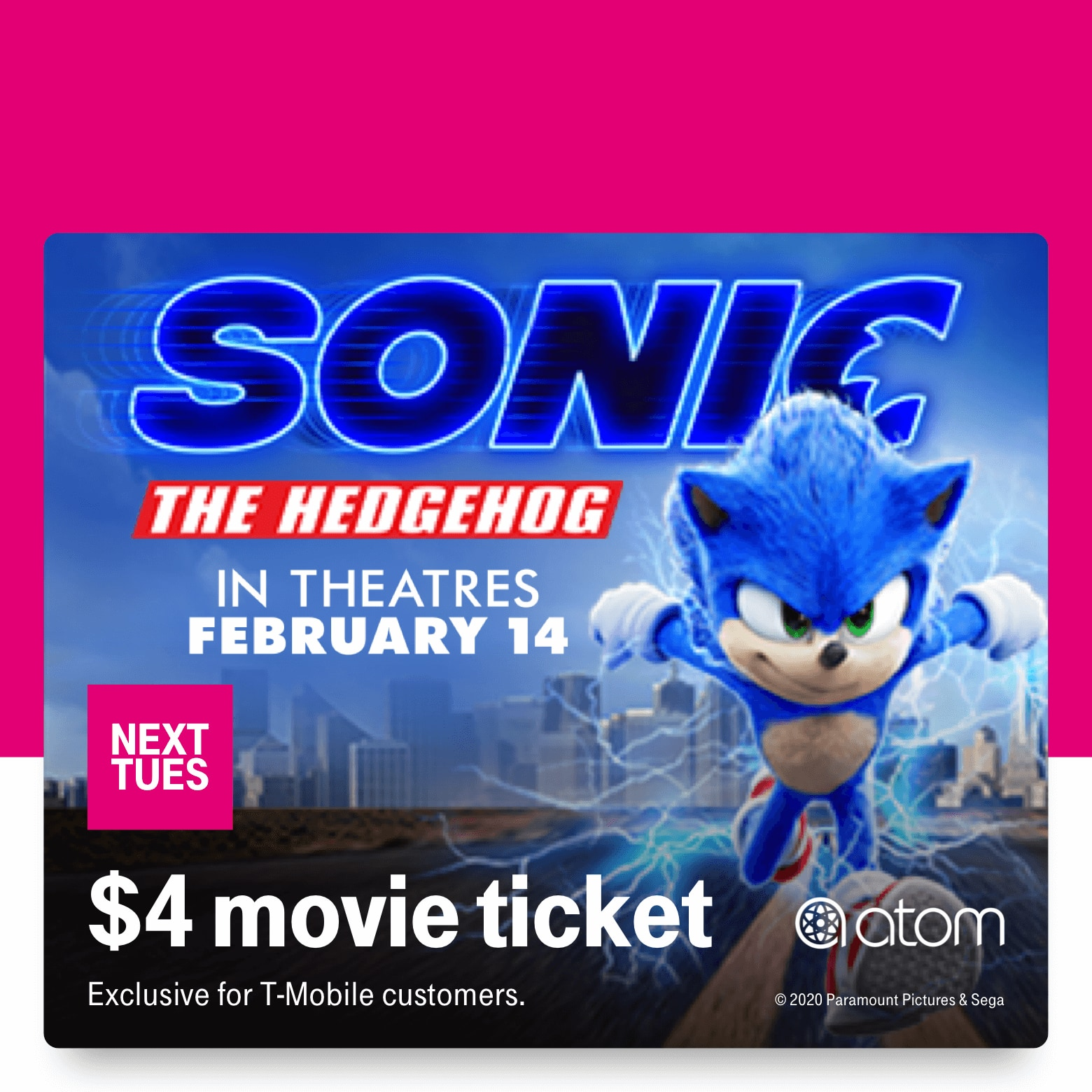 T-Mobile Customers 02/11: $4 Sonic The Hedgehog movie ticket, Free T-mobile Tumbler, Soothe $40 massage credit