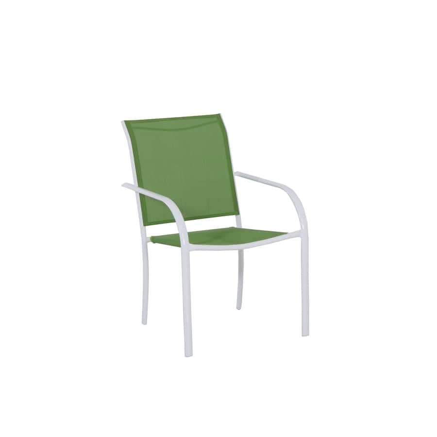 Lowes White Steel Stackable Patio Dining Chair Green