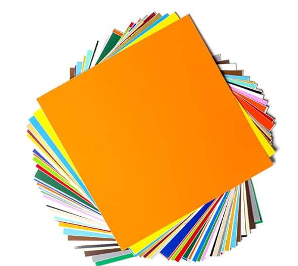 """Permanent Adhesive Backed Vinyl Sheets by EZ Craft USA - 12"""" x 12"""" - 40 Sheets Assorted Colors Works with Cricut and Other Cutters   $17.84"""