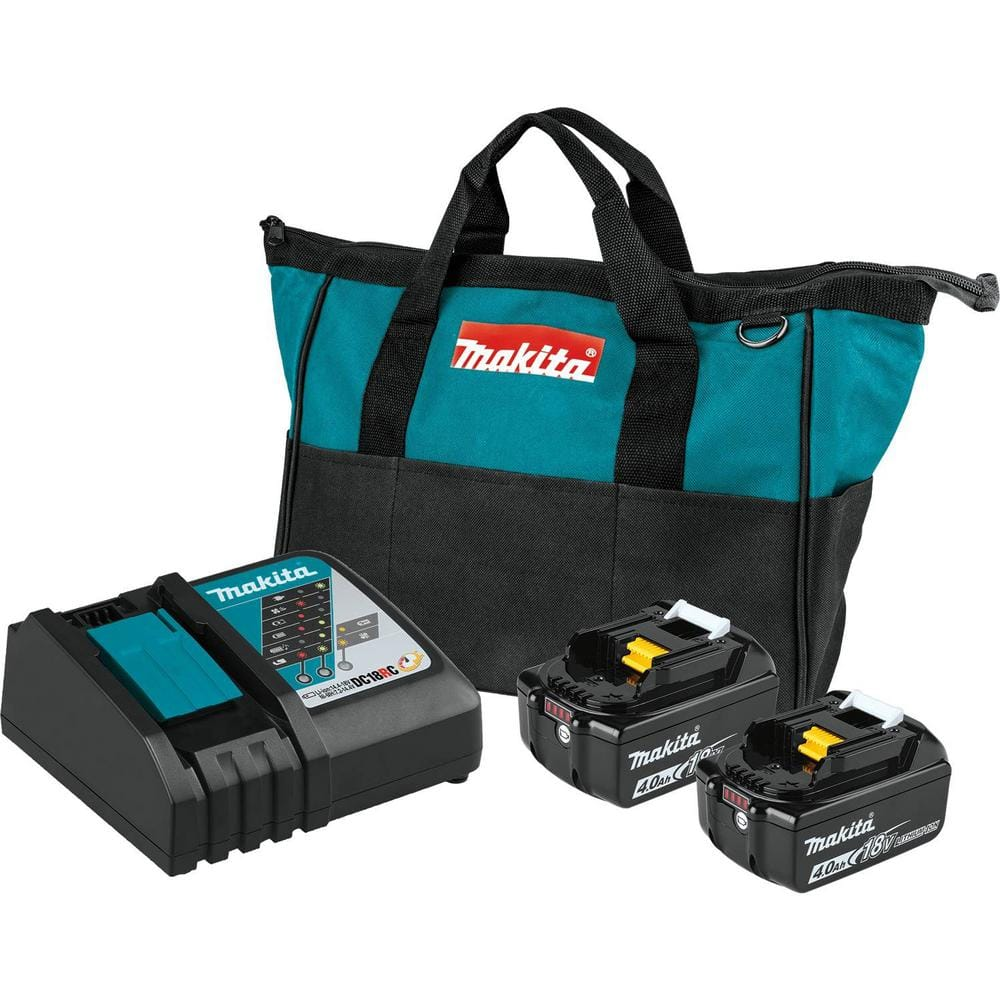 Makita 18-Volt LXT Lithium-Ion 4.0 Ah Battery and Rapid Optimum Charger Starter Pack-BL1840BDC2 - The Home Depot $90.77