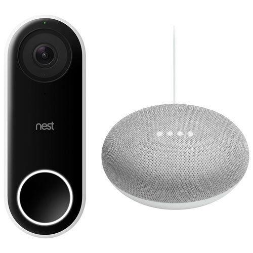 Nest Hello Video Doorbell 160° diagonal view, 2-way audio + Free Google Mini $169.99 AC + FS