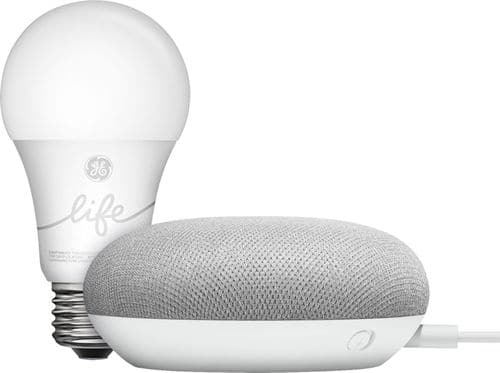 Google - Smart Light Starter Kit with Google Assistant (Google Home Mini)+ Free C by GE - C-Life A19 Bluetooth Smart LED Bulb (2-Pack) - White Only $35 or Less + Free Shipping