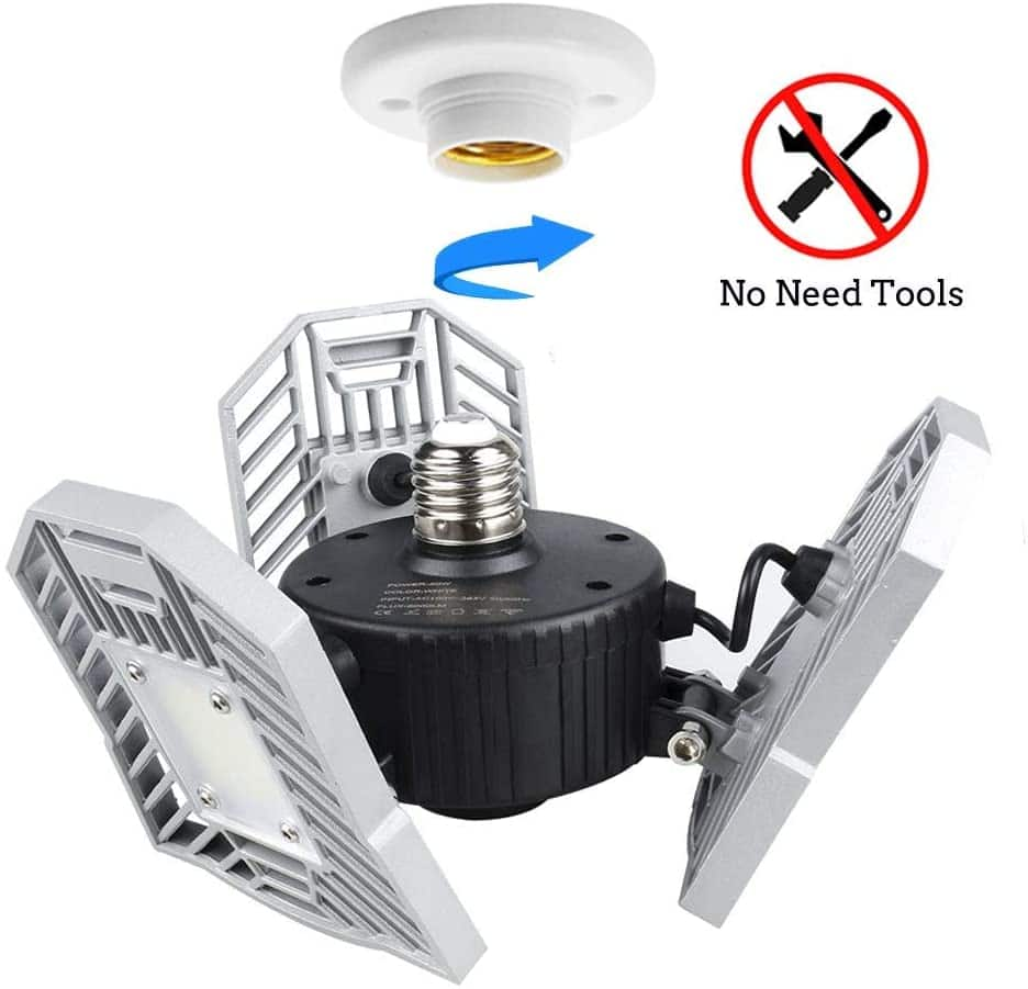 LED Garage Lights by Tanbaby - Adjustable, 60W, 6000LM - $25.99 AC