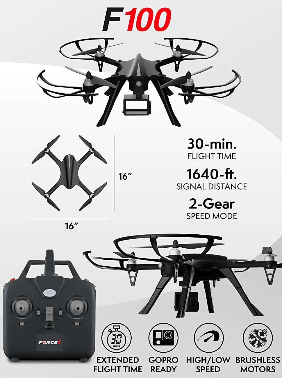 Force1 F100 Brushless Quadcopter (Rebranded MJX Bugs 3) with 2 batteries $88.99 on Amazon