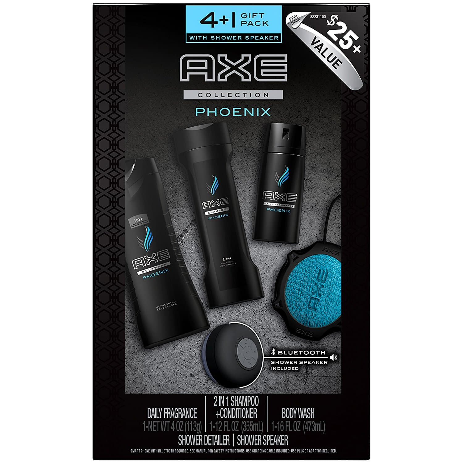 AXE Gift Pack (5 in 1) with Shower Speaker, Phoenix (Prime Now = Extreme YMMV) $5.50