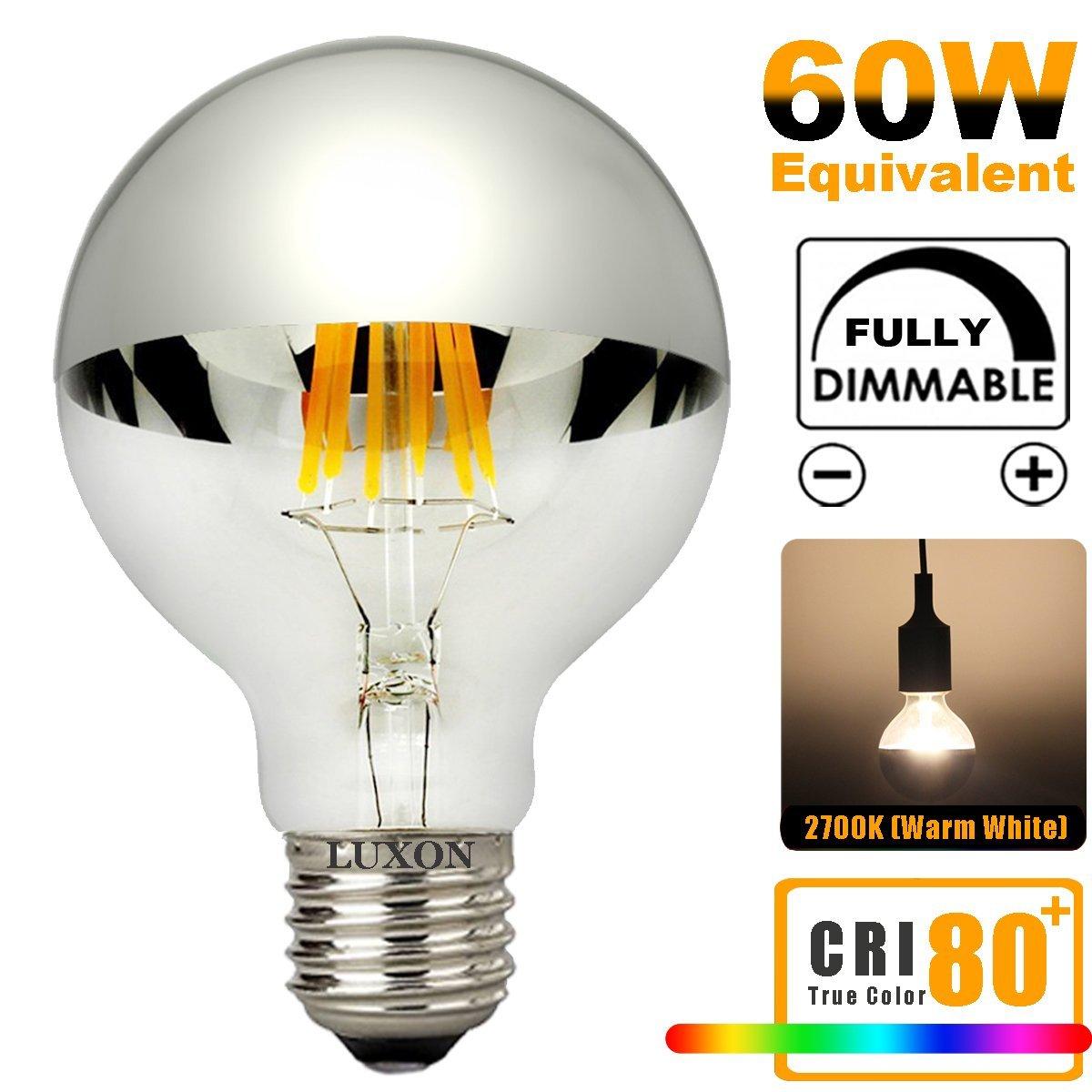 Half Chrome Light Bulb Dimmable LED 6W (60W Equivalent) G80/G25 E26 Warm White 2700K - $6 (S&S), $6.70 (Prime)
