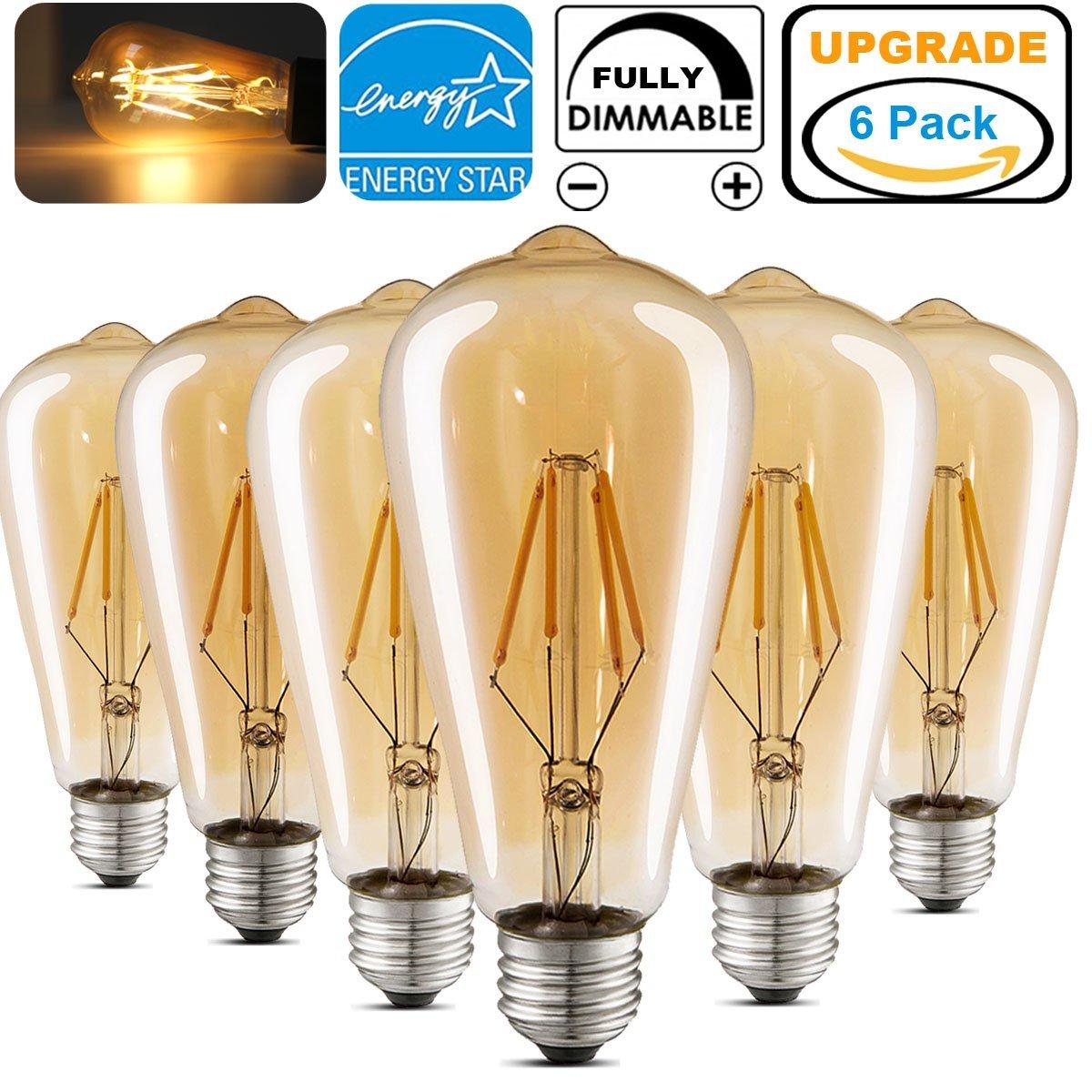 LED Edison Light Bulb 4W E26 Warm White 2700K - 6 Pack + FS (Prime) $18