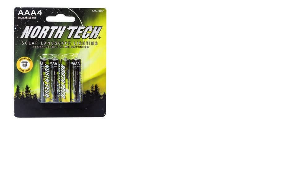 North Tech AA or AAA NiMH Solar Light Rechargeable Batteries 4 Pack 600 mAh $1 AR