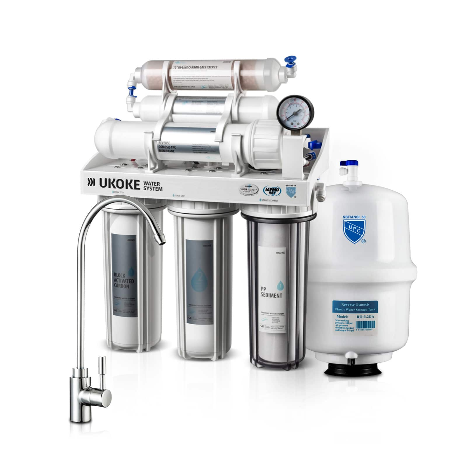 Ukoke 6 Stage Reverse Osmosis 75 GPD Water Filtration System $129 or w/ Pump $139 + Free Shipping