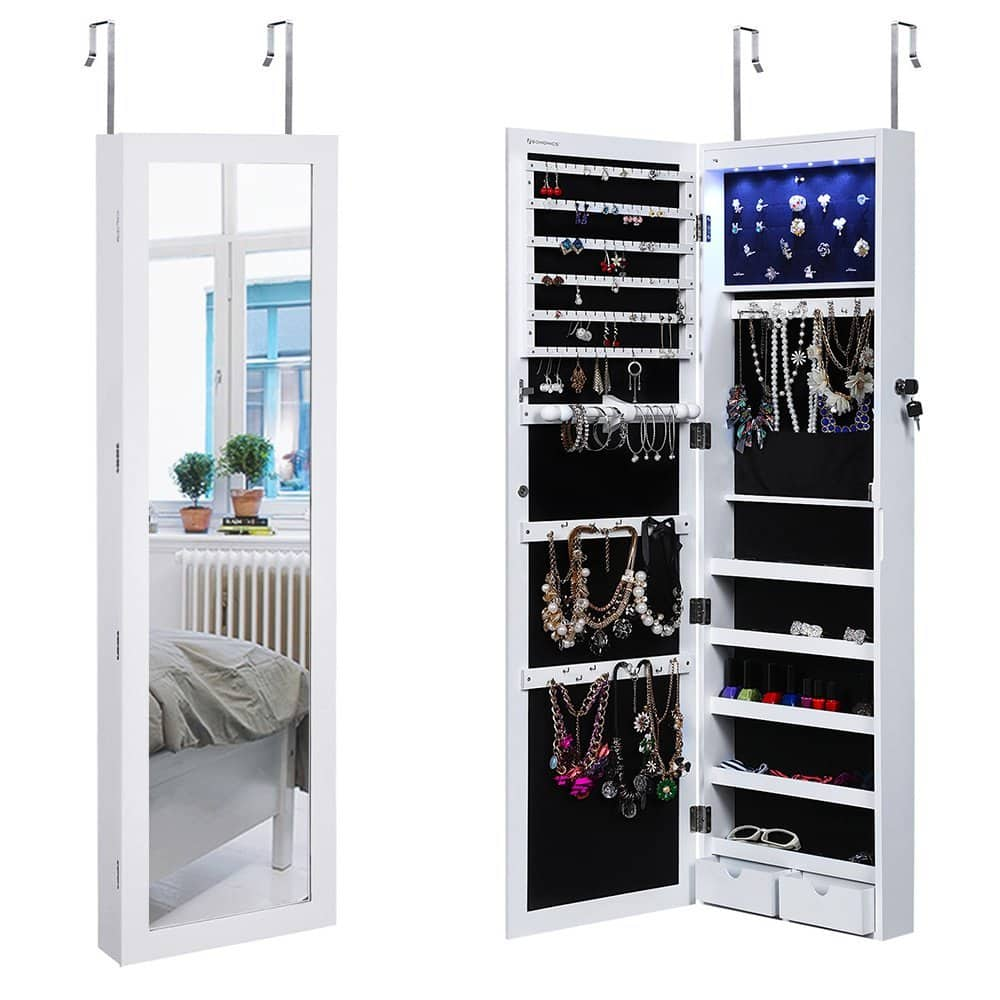 DOTD: SONGMICS Lockable Jewelry Cabinet Wall Door Mounted Jewelry Armoire Organizer with Mirror LED Light, White $97.49