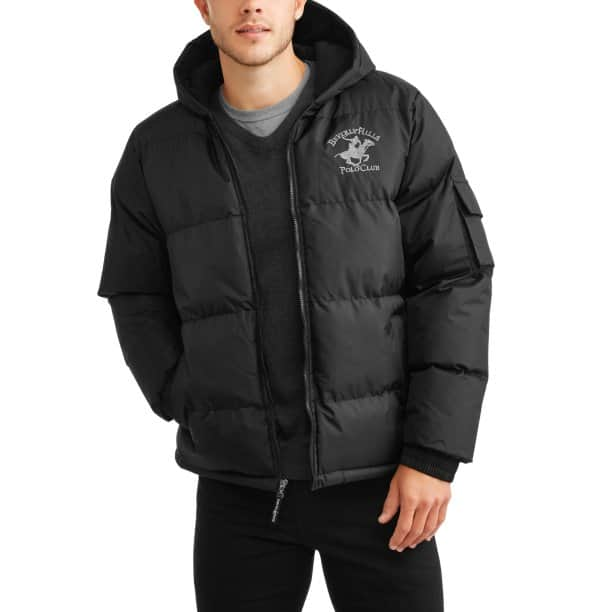Beverly Hills Polo Club Men's Polar Fleece lined Bubble Jacket with Hood for $18