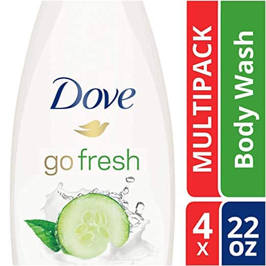 Dove Sulfate Free Body Wash, Cucumber and Green Tea, 22 oz, Pack of 4 @ Amazon $15.25 or less with S&S