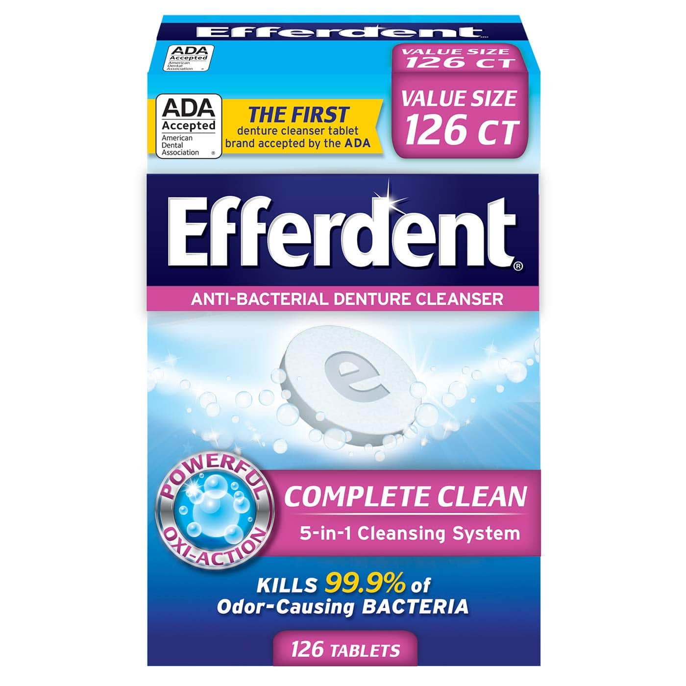 Efferdent Anti-Bacterial Denture Cleanser | 5-in-1 Cleansing System | 126 Count (Pack of 1) $3.55 + FS orders over $25 @Amazon