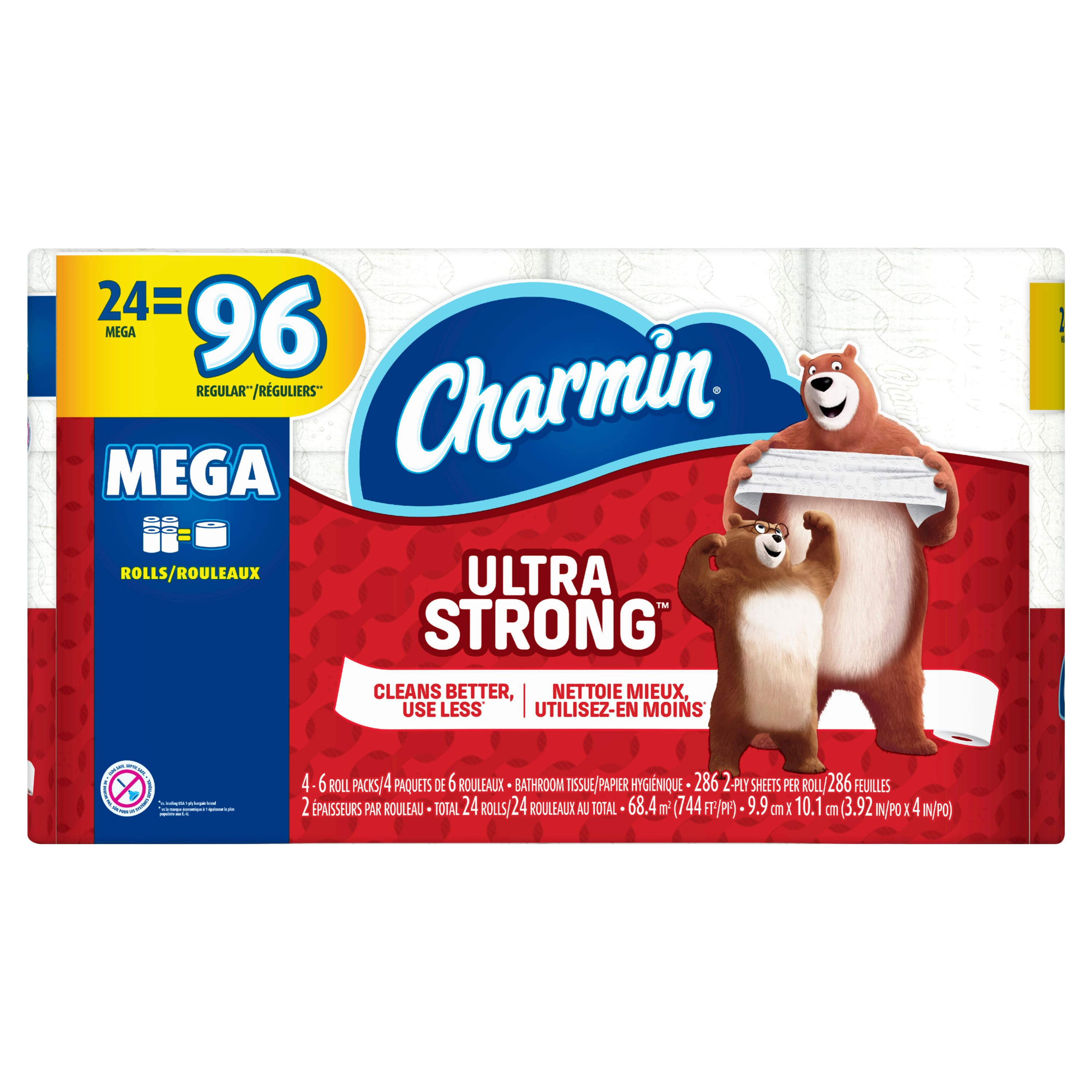 Charmin Ultra Strong Toilet Paper, 24 Mega Rolls $23.82 @ Walmart -- Sparkle Paper Towels 6 Giant Rolls 5.74