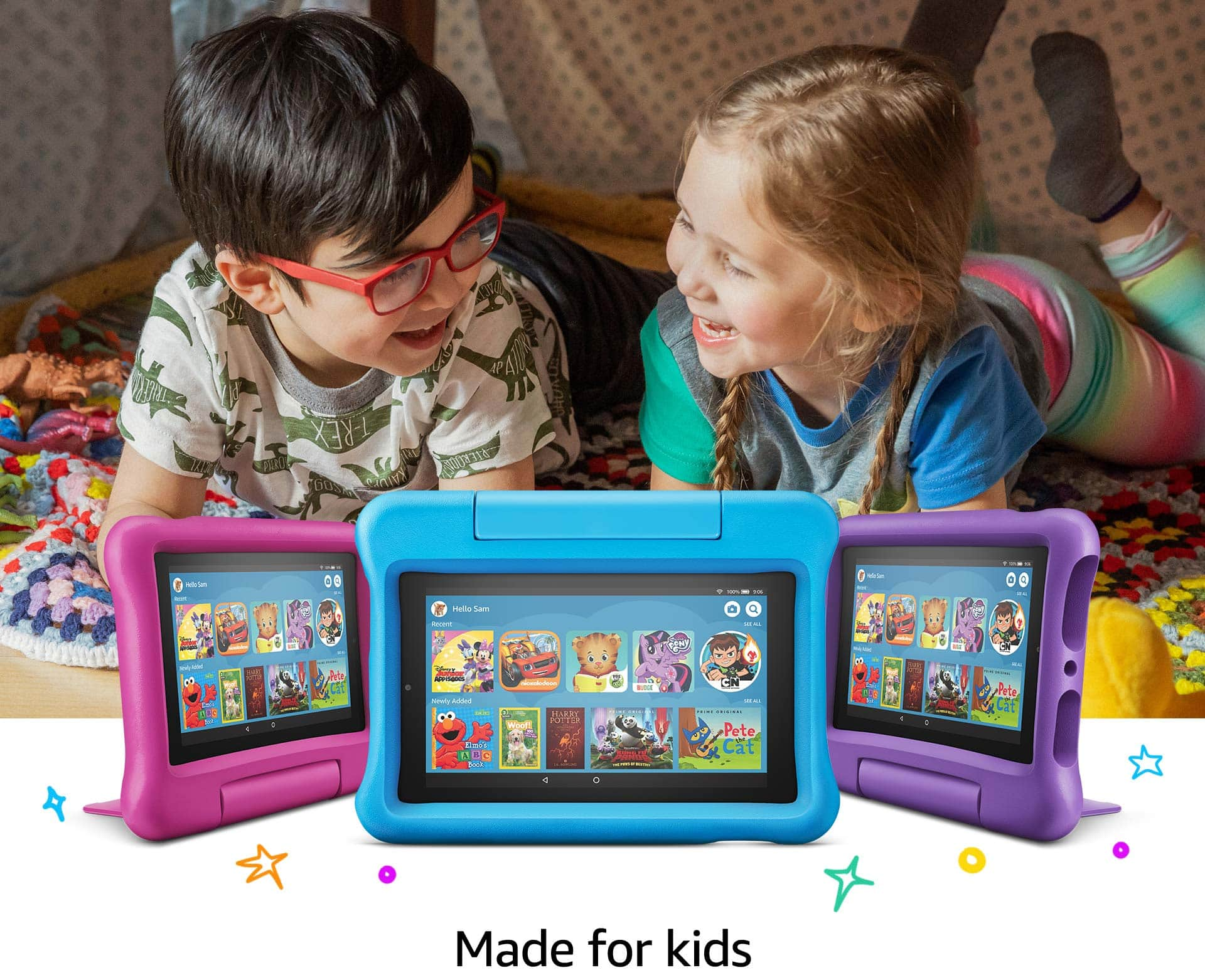 """Fire 7 Kids Tablet, 7"""" Display, 16 GB, Blue Kid-Proof Case for $59.99"""