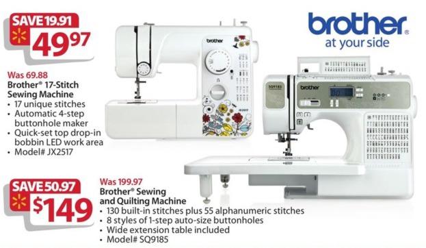 Walmart Black Friday: Brother JX2517 17-Stitch Sewing Machine for $49.97