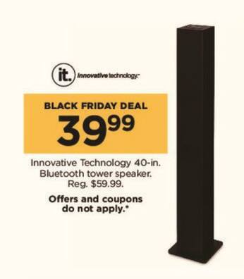 "Kohl's Black Friday: 40"" Innovative Technology Bluetooth Tower Speaker for $39.99"