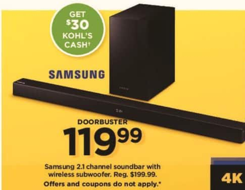 Kohl's Black Friday: Samsung 2.1 Channel Soundbar w/ Wireless Subwoofer + $30 Kohl's Cash for $119.99