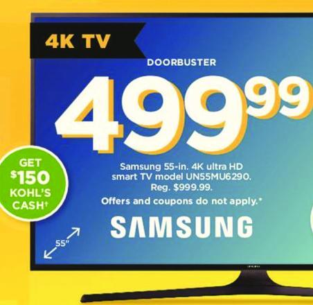 "Kohl's Black Friday: Samsung 55"" 4K UN55MU6290 Ultra HD Smart TV +$150 Kohl's Cash for $499.99"