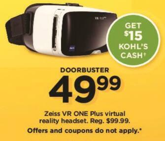 Kohl's Black Friday: Zeiss VR One Plus Virtual Reality Headset +$15 Kohl's Cash for $49.99