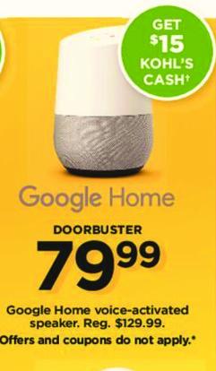 Kohl's Black Friday: Google Home + $15 Kohl's Cash for $79.99