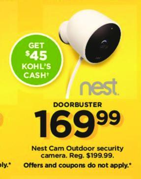 Kohl's Black Friday: Nest Cam Outdoor Security Camera +$45 Kohl's Cash for $169.99