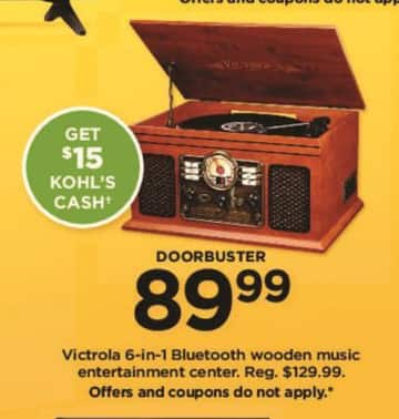 Kohl's Black Friday: Victrola 6-in-1 Bluetooth Wooden Music Entertainment Center +$15 Kohl's Cash for $89.99