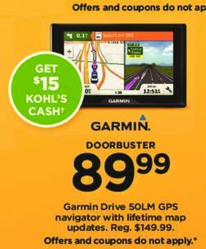Kohl's Black Friday: Garmin Drive 50LM GPS Navigator w/ Lifetime Maps + $15 Kohl's Cash for $89.99
