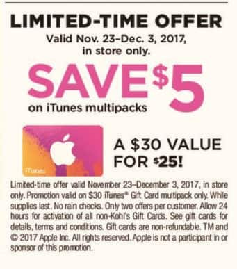Kohl's Black Friday: $30 in iTunes Gift Cards, 11/23/17 - 12/3/17 for $25.00