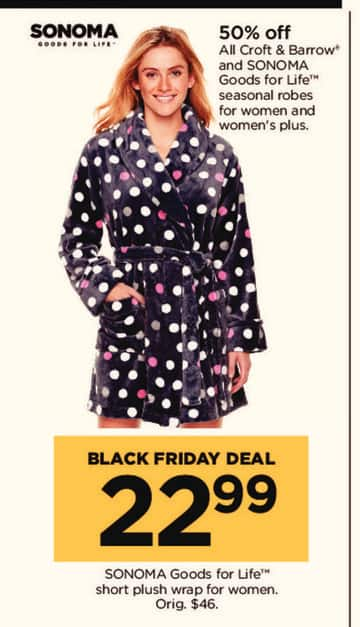 Kohl's Black Friday: All Croft & Barrow and Sonoma Goods For Life Seasonal Robes - 50% Off