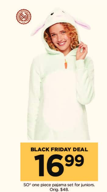 Kohl's Black Friday: SO one piece pajama set for juniors for $16.99