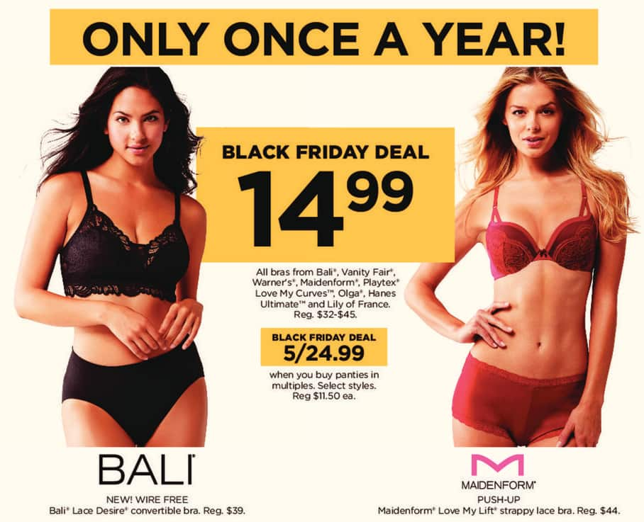 Kohl's Black Friday: All Bali, Vanity Fair, Warners, Maidenform, Playtex, Love My Curves, Olga, Hanes, Ultimate, and Lily of France Bras for $14.99