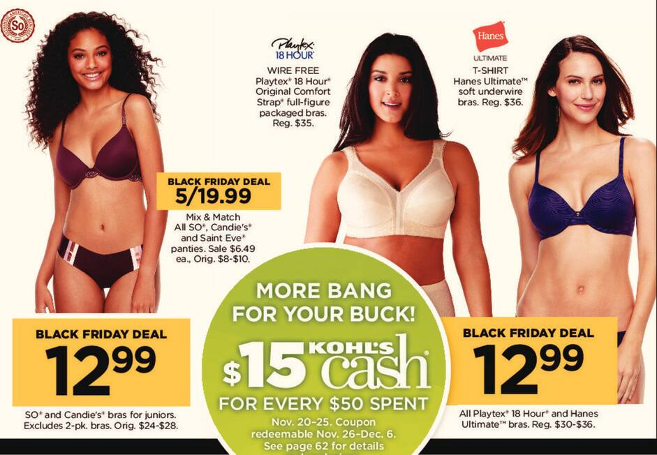 Kohl's Black Friday: All Playtex 18 Hour And Hanes Ultimate Bras for $12.99