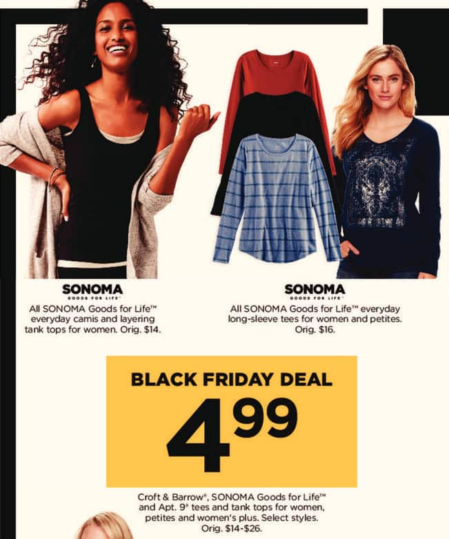 Kohl's Black Friday: All Sonoma Goods For Life Everday Kamis and Layering Tank Tops for $4.99