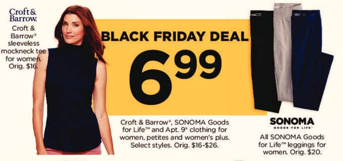 Kohl's Black Friday: Croft & Barrow, Sonoma Goods for Life, and Apt. 9 Clothing for $6.99