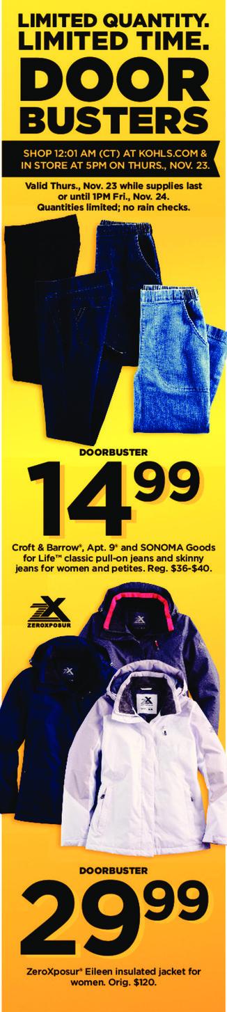 Kohl's Black Friday: ZeroXposur Eileen Insulated Jacket for $29.99