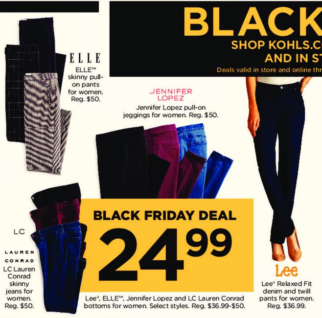 Kohl's Black Friday: Jennifer Lopez Pull-On Jeggings for $24.99