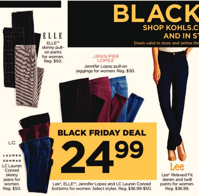 4952bbe53c Kohl s Black Friday  Lee Relaxed Fit Women s Denim and Twill Pants for   24.99