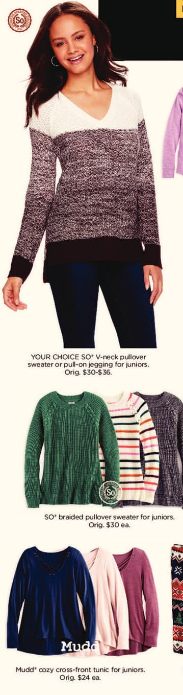 Kohl's Black Friday: SO V-Neck Pullover Sweater Or Juniors  Pull-on Jeggings for $9.99