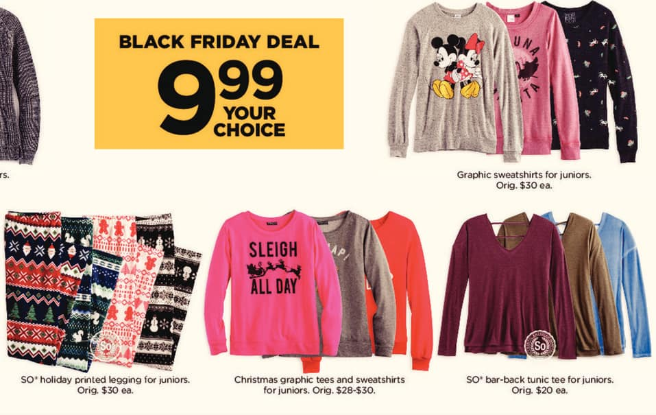 kohls black friday juniors christmas graphic tees and sweatshirts for 999 - Is Kohls Open On Christmas Day