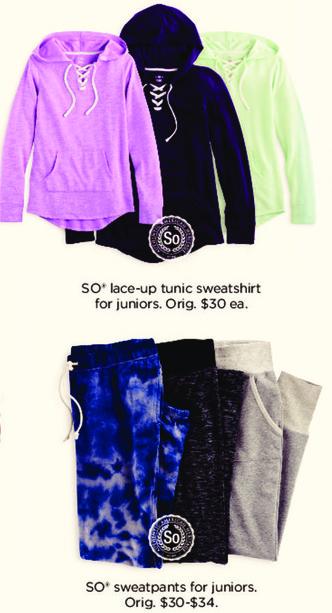 Kohl's Black Friday: Juniors SO Sweatpants for $9.99