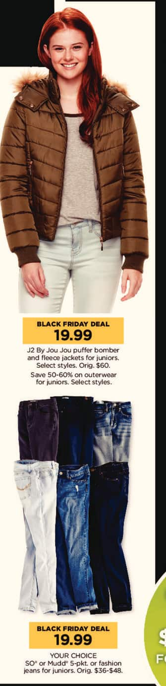 Kohl's Black Friday: Juniors J2 By Jou Jou Puffer Bomber And Fleece Jackets for $19.99
