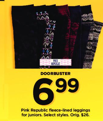 Kohl's Black Friday: Juniors Pink Republic Fleece-lined Leggings for $6.99